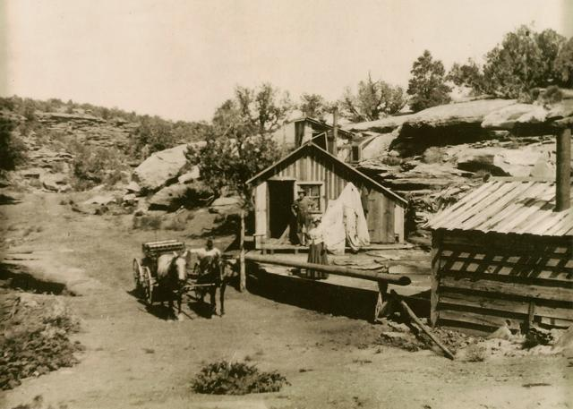 John Christian's Cabin 5 miles north of Uravan – made of lumber from the hanging flume; burned down after Mr. Christian's death.