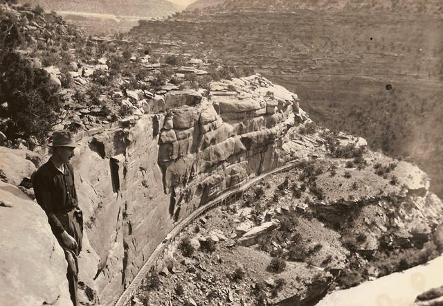Montrose Placer Mine Hanging Flume circa 1897. View from Windy Point.
