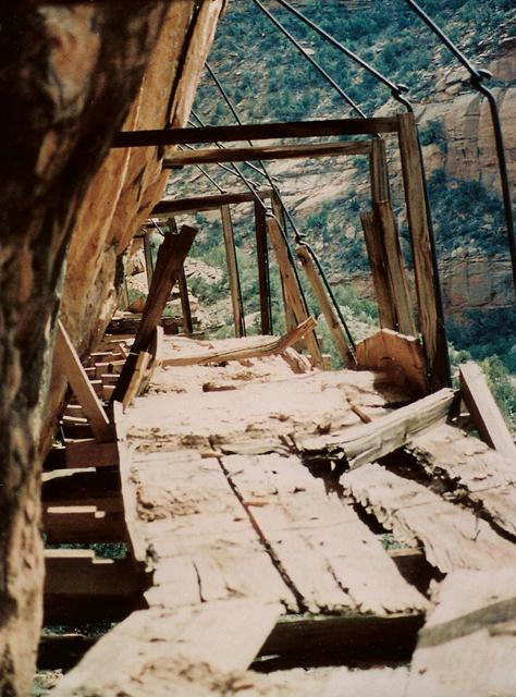 One of the most intact portions of the flume left for the public to interpret. Interior view taken 1995