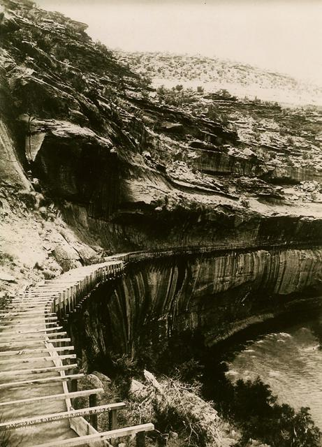 Water flowing in Hanging Flume , early summer 1891.